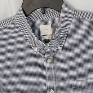 Gap Lived In LS Blue White Check Button Front EUC